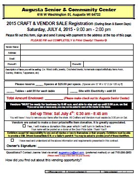 Bean and Bacon Days 2016 Craft Registration
