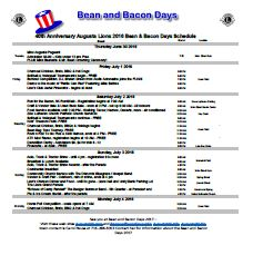Bean and Bacon Days Printable Schedule thumb