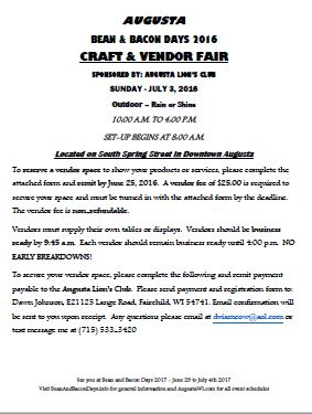Bean and Bacon Days Craft and Vendor Fair