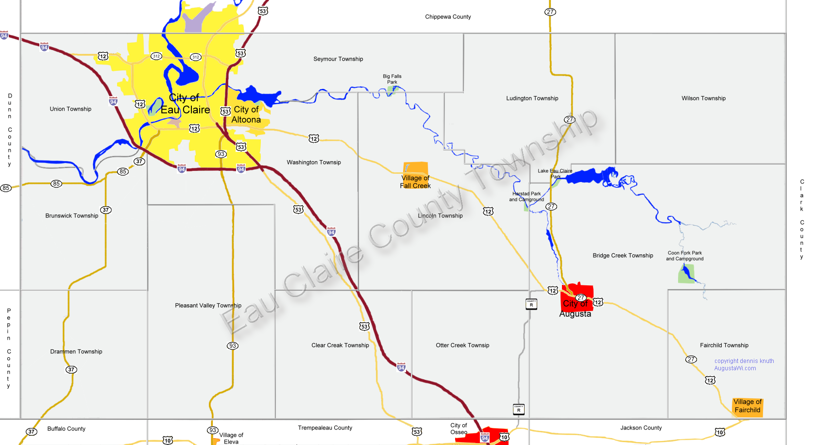 Eau Claire County Township Map Large