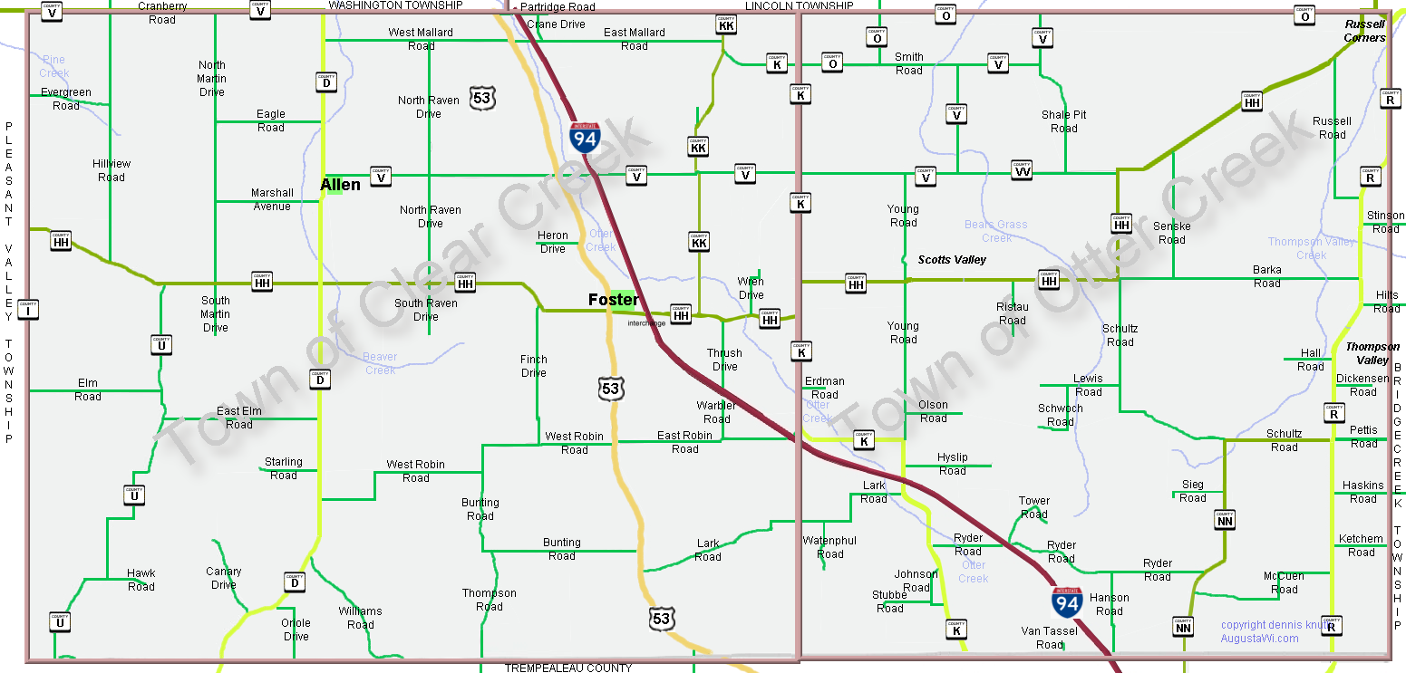 Otter Creek and Clear Creek Townships Map in Eau Claire County