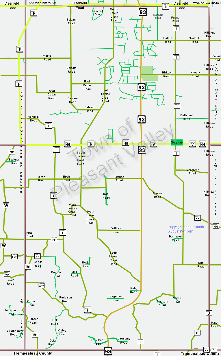 Pleaseant Township Map in Eau Claire County